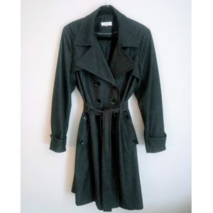 CALVIN KLEIN Charcoal Gray Fully Lined Trench Coat